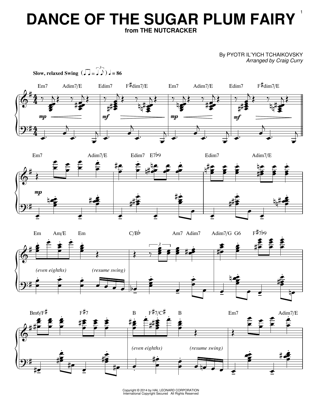 Partition piano Dance Of The Sugar Plum Fairy de Craig Curry - Piano Solo