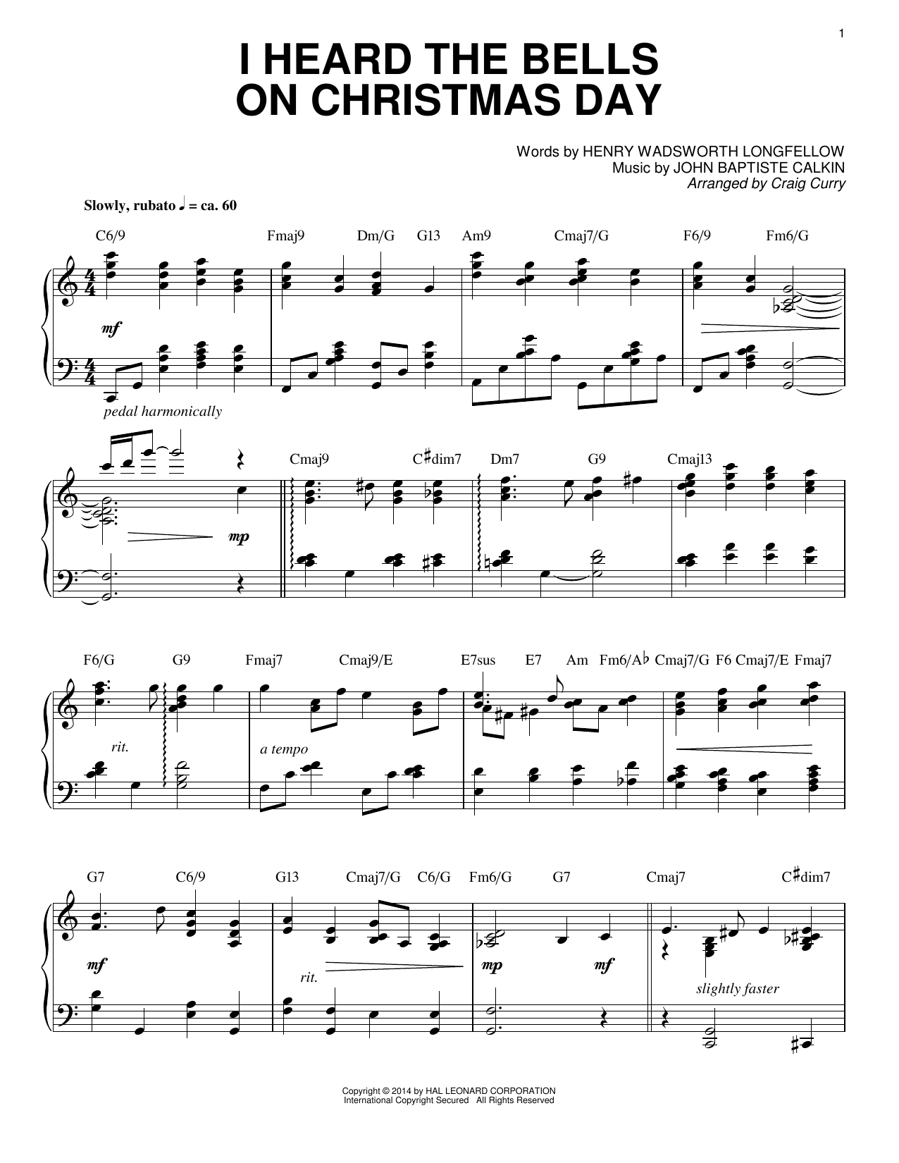 Partition piano I Heard The Bells On Christmas Day de Craig Curry - Piano Solo