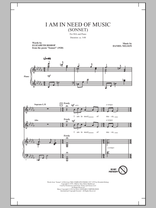 Partition chorale I Am In Need Of Music (Sonnet) de  - SSA