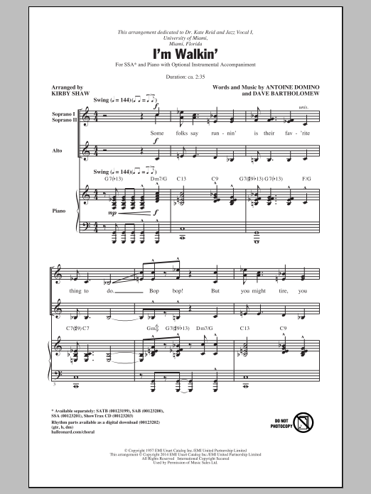 Partition chorale I'm Walkin' de Ricky Nelson - SSA