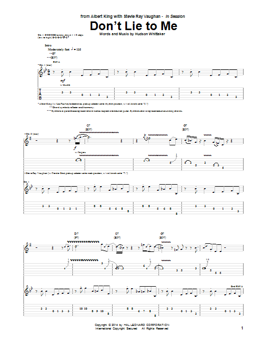 Tablature guitare Don't Lie To Me de Albert King - Tablature Guitare