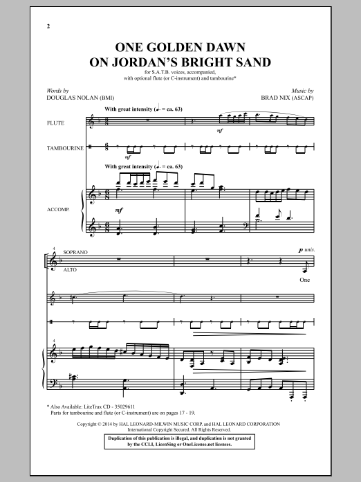 Partition chorale One Golden Dawn On Jordan's Bright Sand de Brad Nix - SATB