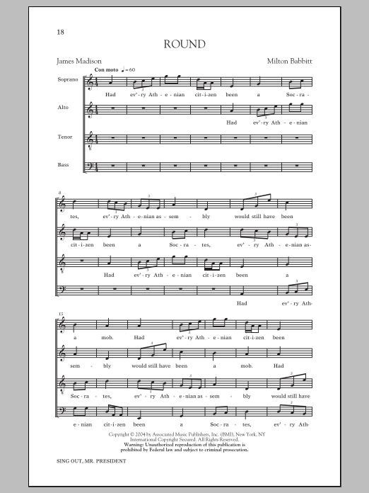 Partition chorale Round de Milton Babbitt - SATB