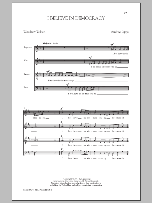 I Believe In Democracy Sheet Music