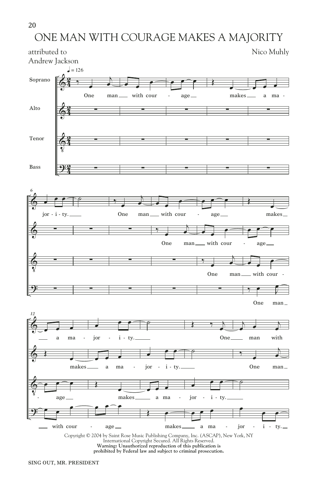 One Man With Courage Makes A Majority Sheet Music