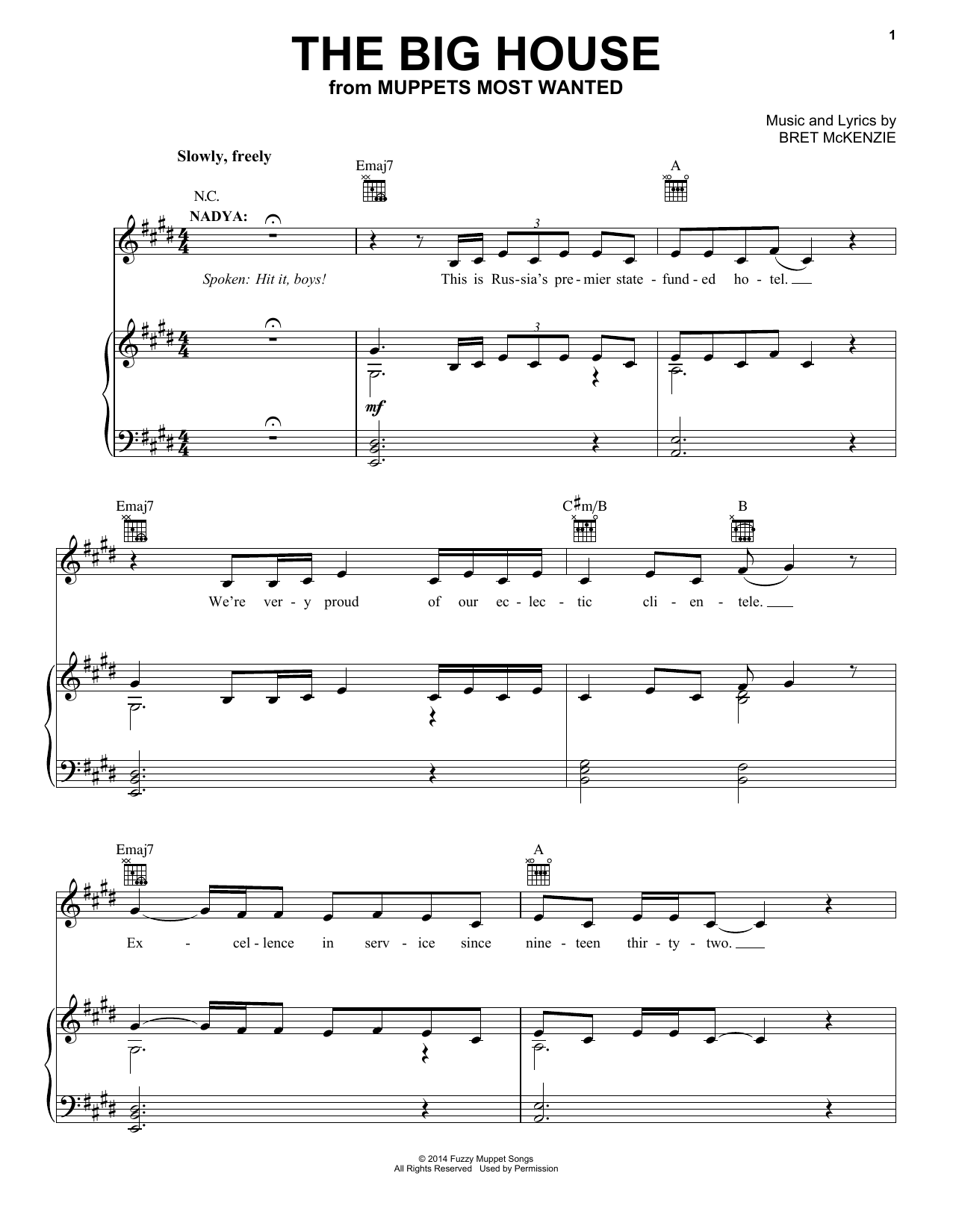 The big house sheet music by bret mckenzie piano vocal for House music acapella