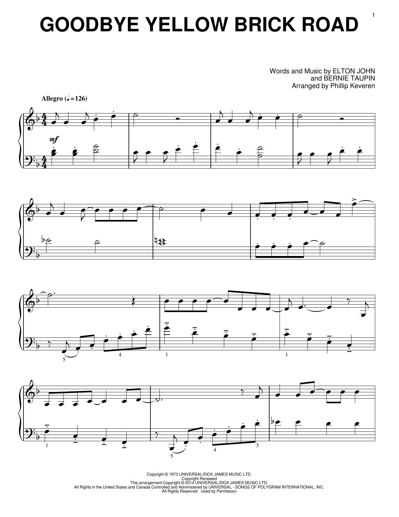 Goodbye Yellow Brick Road Sheet Music