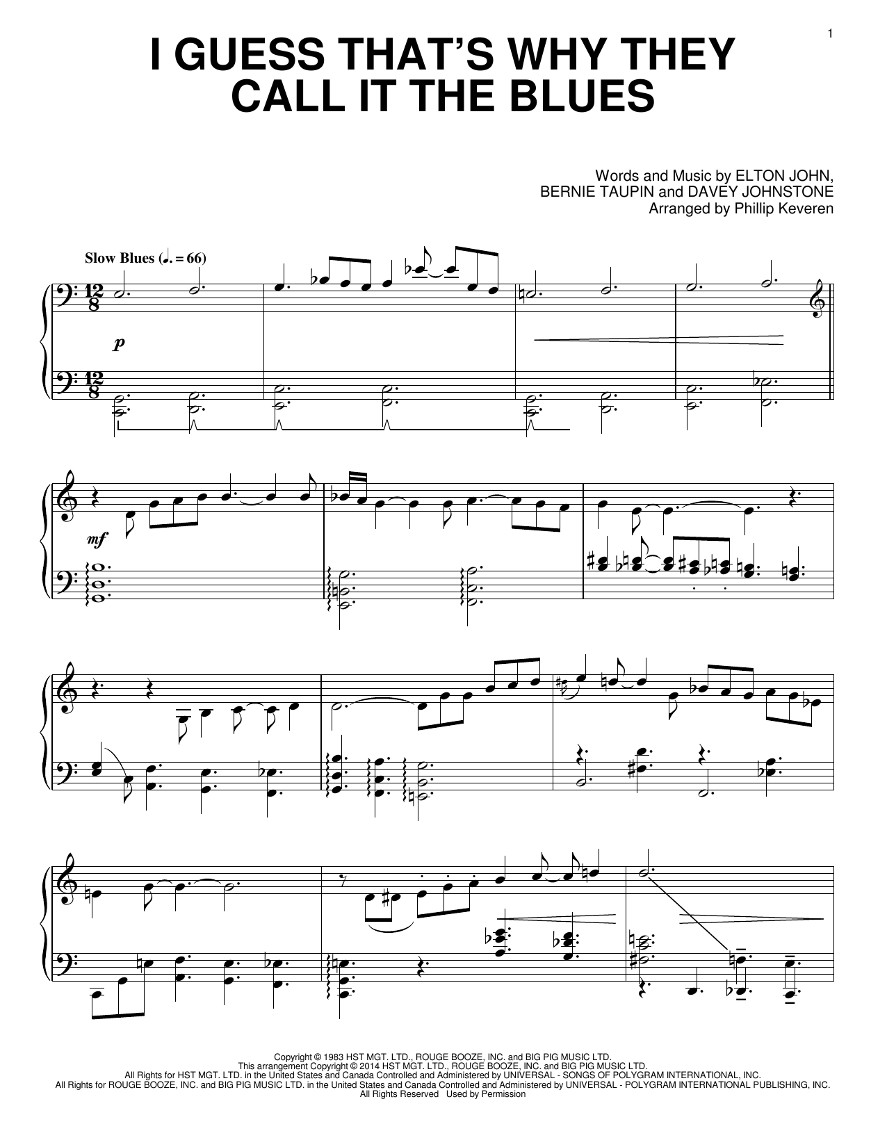 I Guess That's Why They Call It The Blues Sheet Music