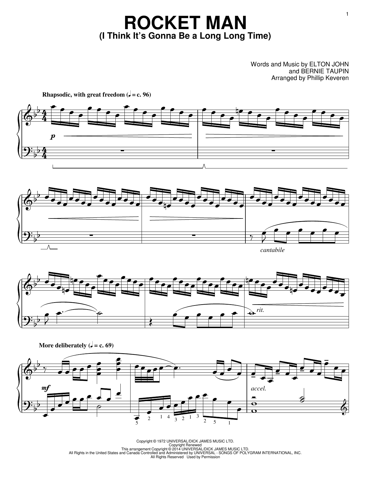 Partition piano Rocket Man (I Think It's Gonna Be A Long Long Time) de Phillip Keveren - Piano Solo