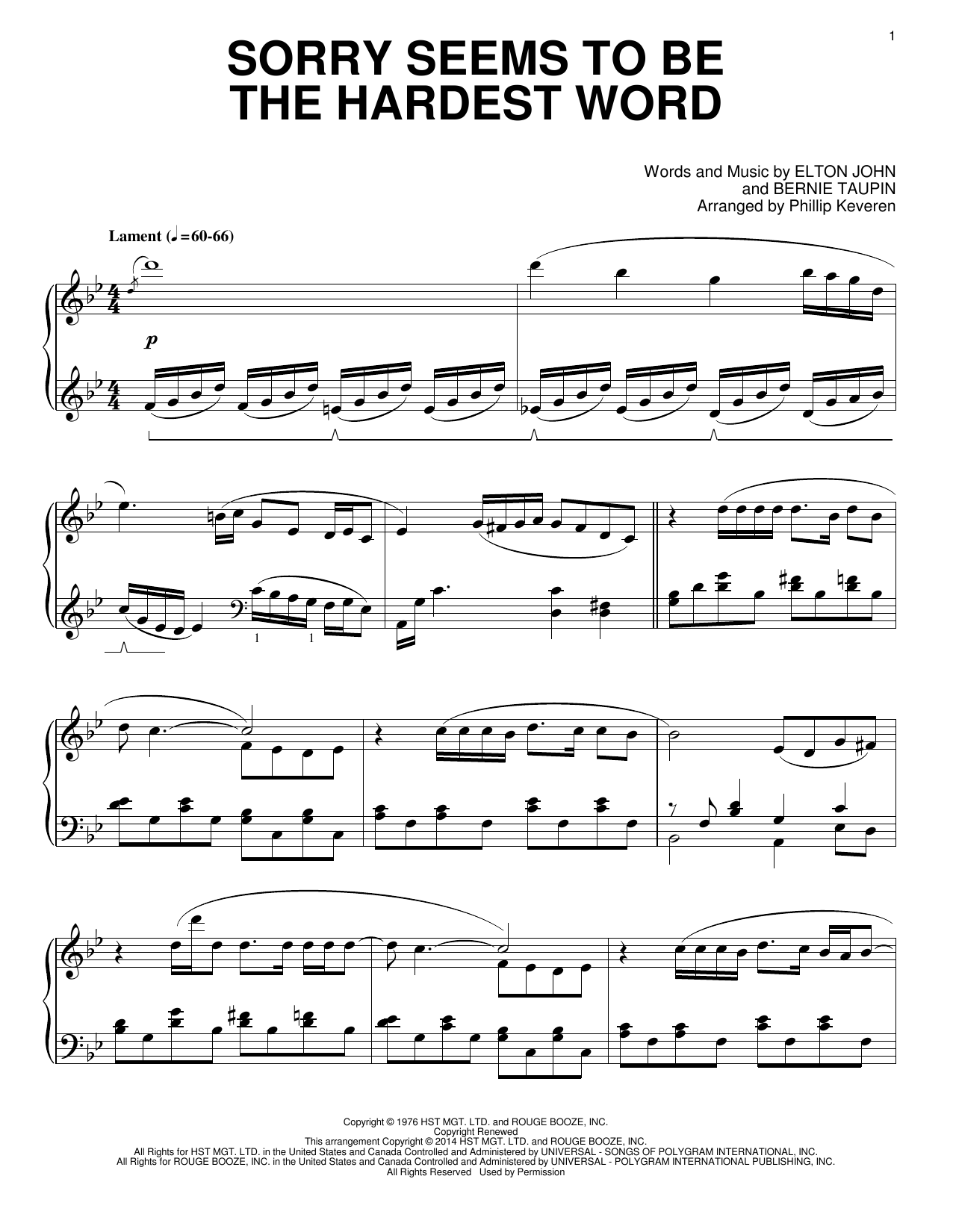 Partition piano Sorry Seems To Be The Hardest Word de Phillip Keveren - Piano Solo
