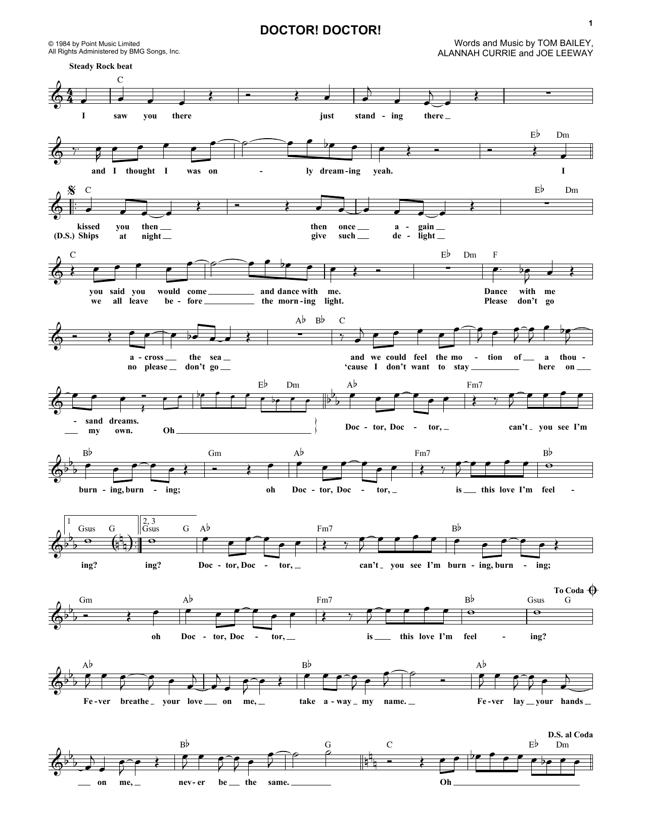 Doctor! Doctor! (Lead Sheet / Fake Book)