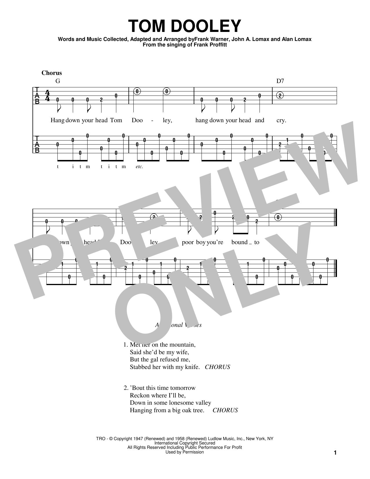 Tom Dooley (Banjo Tab)