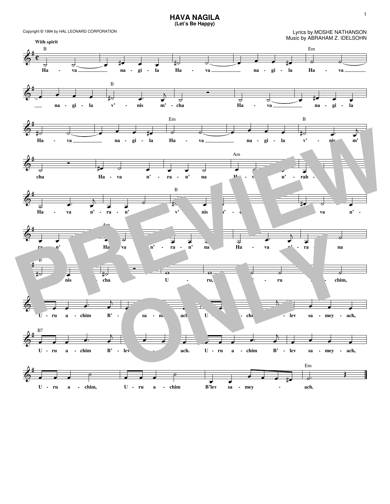 Hava Nagila (Let's Be Happy) Sheet Music