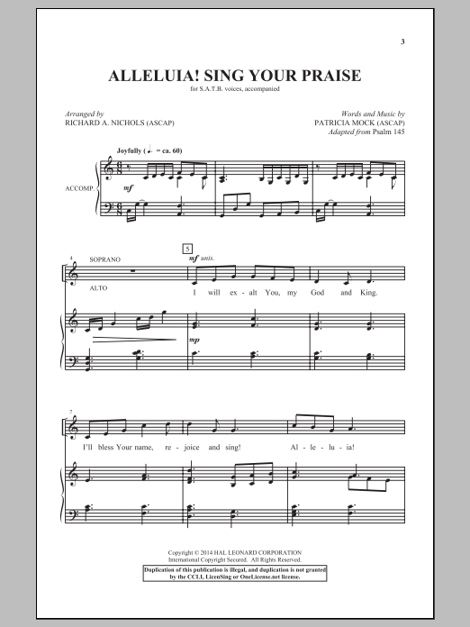 Alleluia! Sing Your Praise Sheet Music