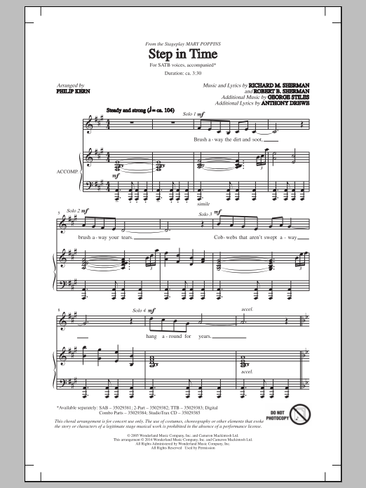 Partition chorale Step In Time de Robert B. Sherman - SATB