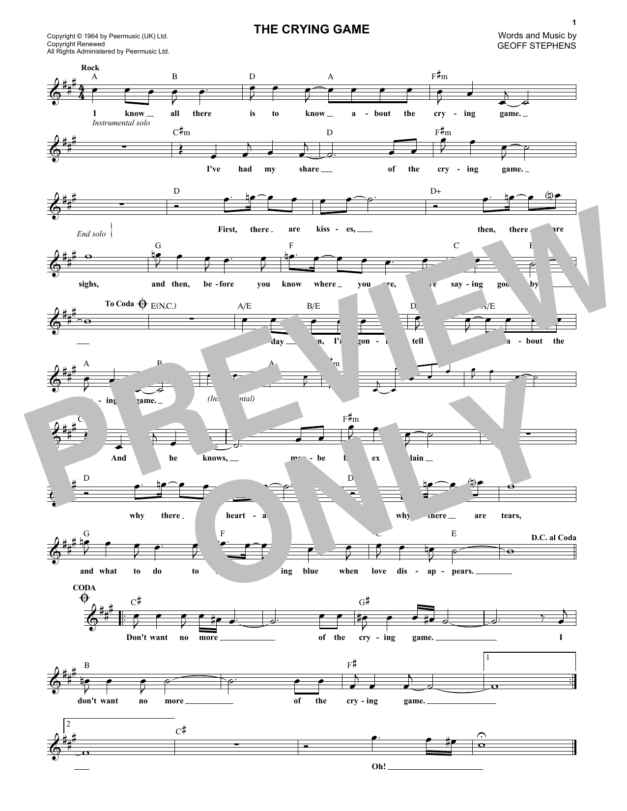 The Crying Game (Lead Sheet / Fake Book)