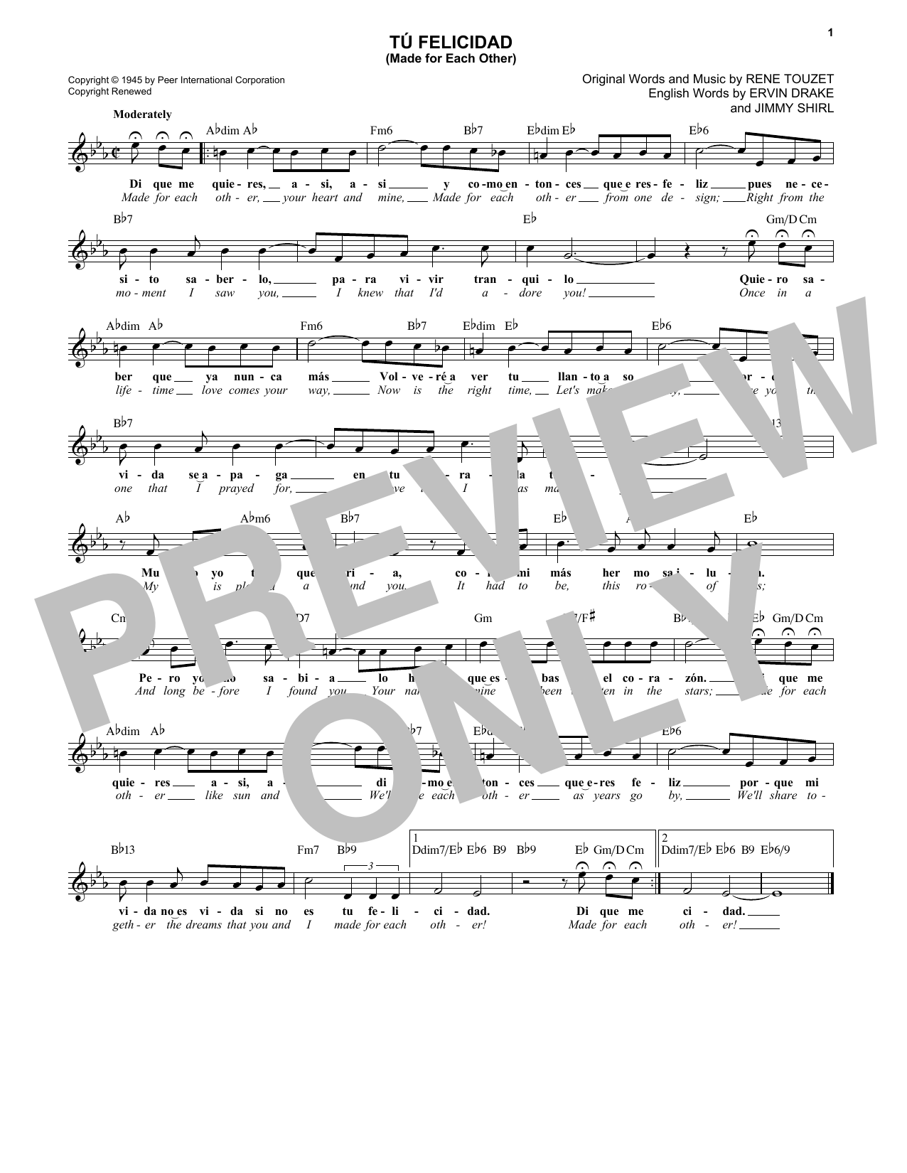 Tu Felicidad (Made For Each Other) (Lead Sheet / Fake Book)