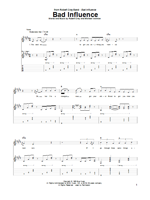 Tablature guitare Bad Influence de Robert Cray - Tablature Guitare