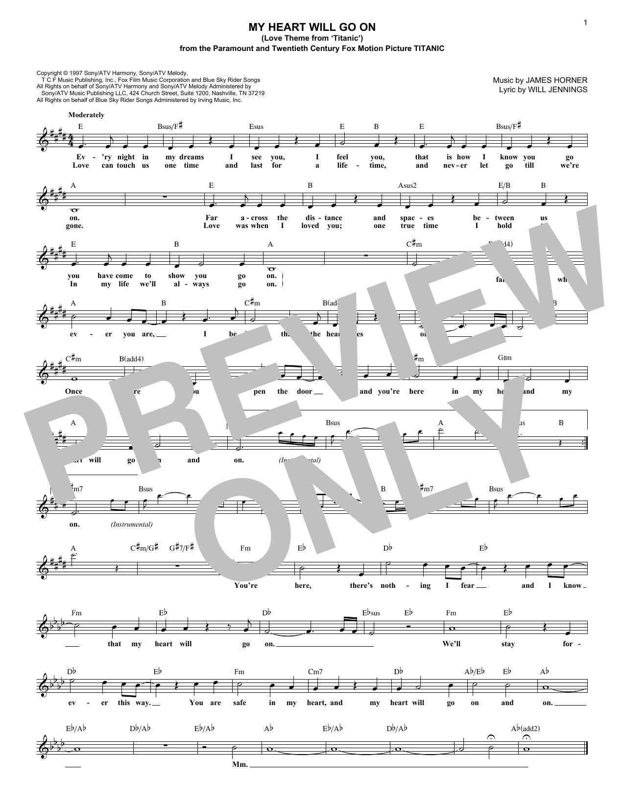 My Heart Will Go On (Love Theme From 'Titanic') (Lead Sheet / Fake Book)