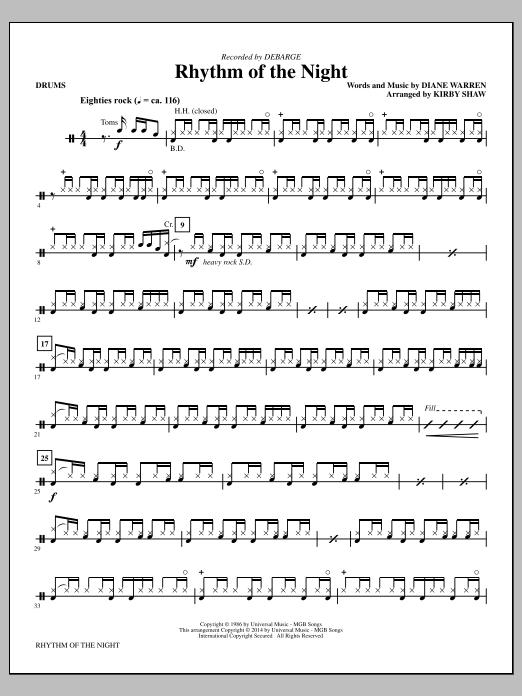 Rhythm of the Night - Drums Sheet Music