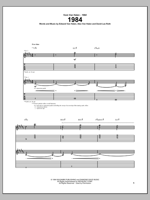 1984 Sheet Music