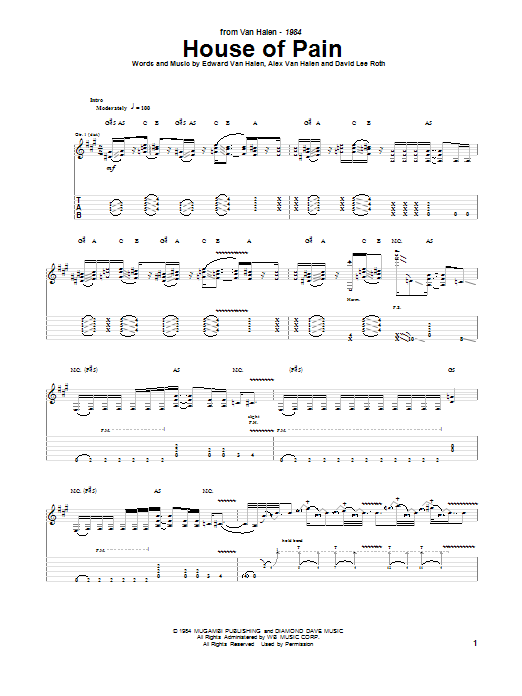 House Of Pain (Guitar Tab)