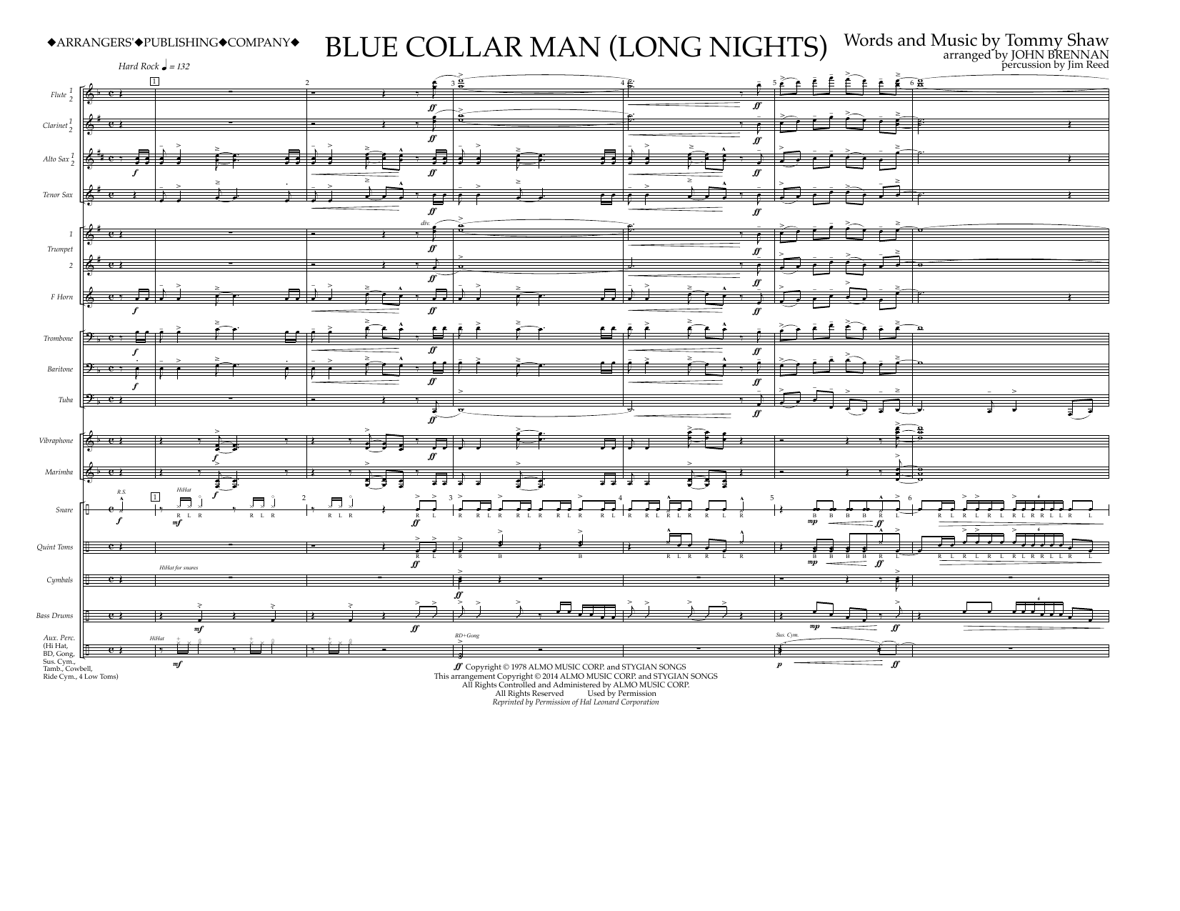 Blue Collar Man (Long Nights) (COMPLETE) sheet music for marching band by Styx and John Brennan. Score Image Preview.
