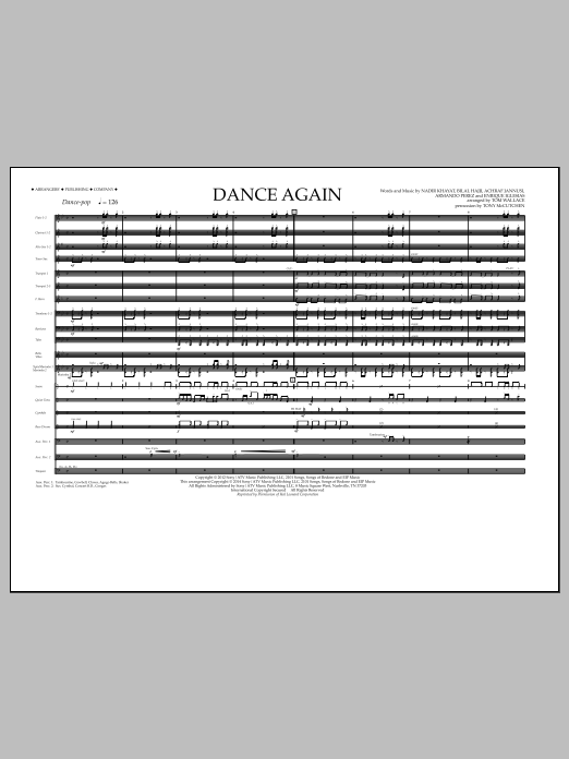 Dance Again (COMPLETE) sheet music for marching band by Tom Wallace, Armando Perez, Enrique Iglesias, Jennifer Lopez, Nadir Khayat and Pitbull. Score Image Preview.