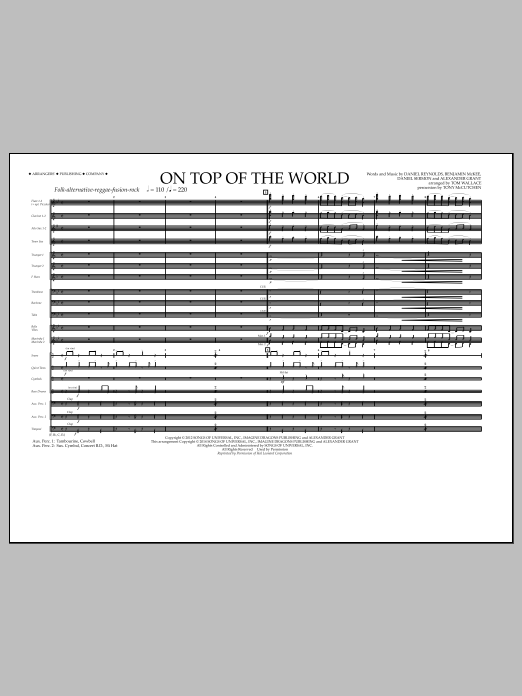 On Top of the World (COMPLETE) sheet music for marching band by Tom Wallace, Alexander Grant, Daniel Reynolds, Daniel Sermon and Imagine Dragons. Score Image Preview.