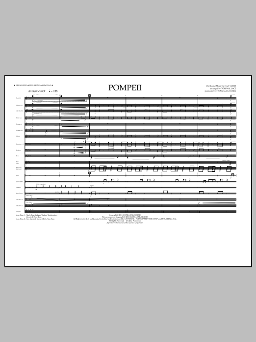 Pompeii (COMPLETE) sheet music for marching band by Tom Wallace, Bastille and Dan Smith. Score Image Preview.