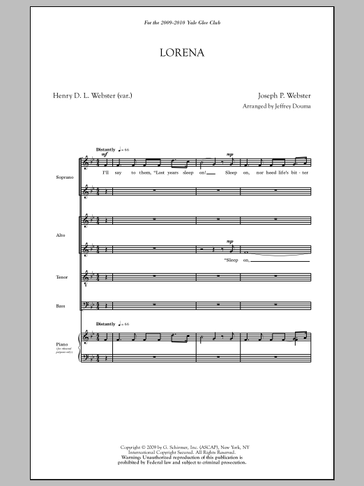 Lorena (arr. Jeffrey Douma) Sheet Music
