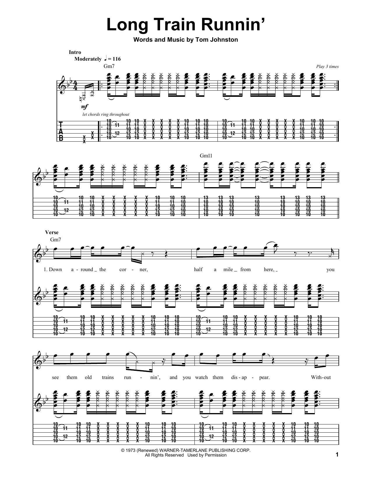 Long Train Runnin The Doobie Brothers Guitar Tab Play Along