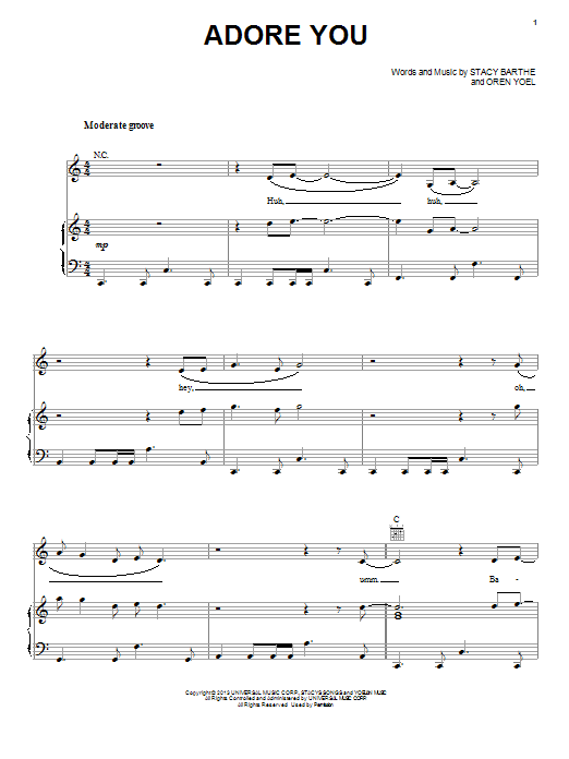 Partition piano Adore You de Miley Cyrus - Piano Voix Guitare (Mélodie Main Droite)
