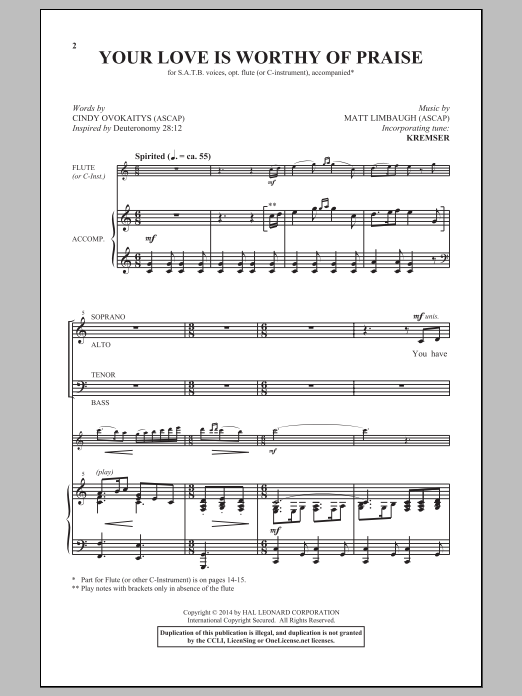 Your Love Is Worthy Of Praise Sheet Music