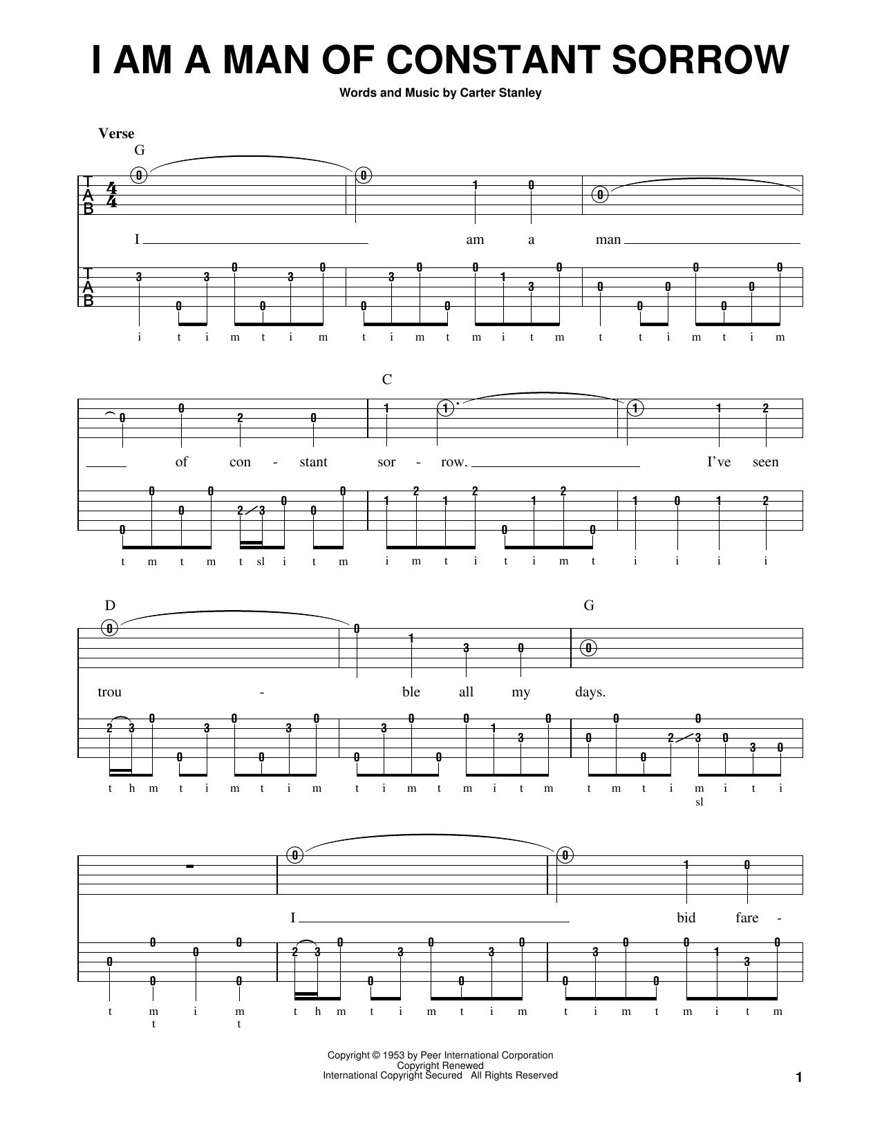 I Am A Man Of Constant Sorrow (Banjo Tab)