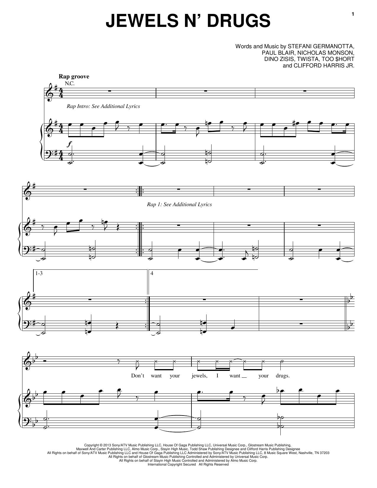 Partition piano Jewels N' Drugs de Lady Gaga - Piano Voix Guitare (Mélodie Main Droite)