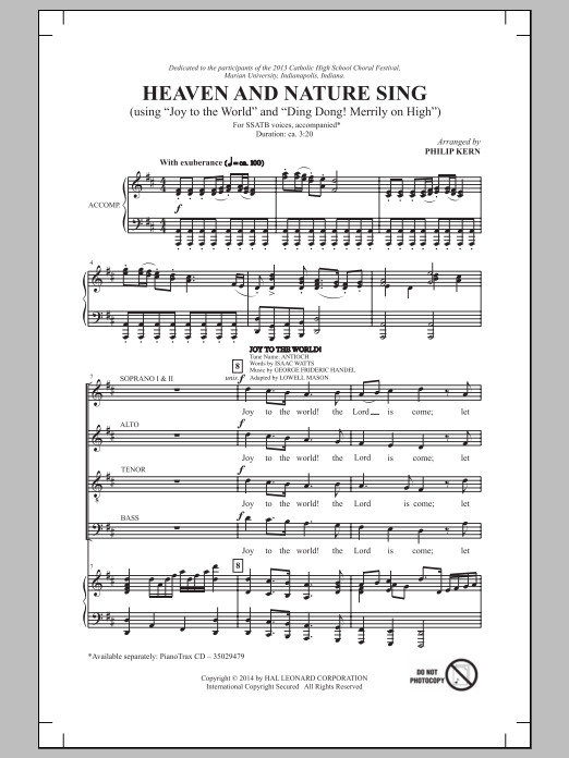 Heaven And Nature Sing Sheet Music