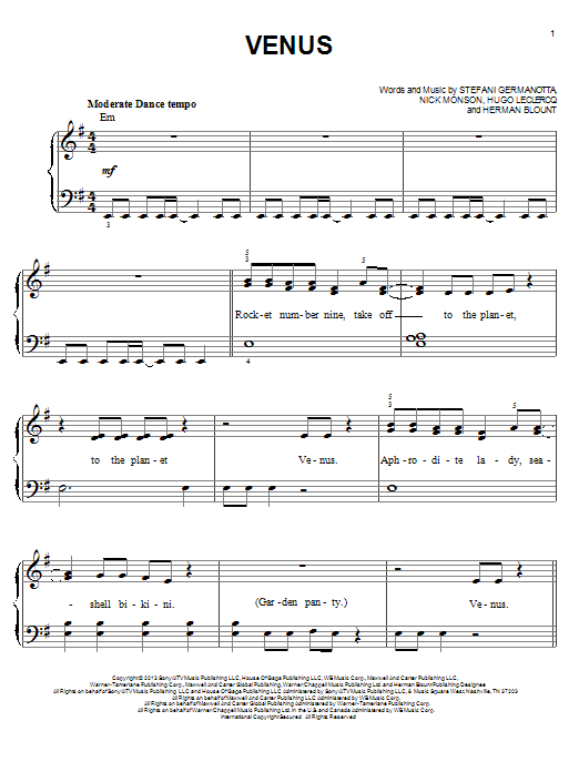 Venus Sheet Music
