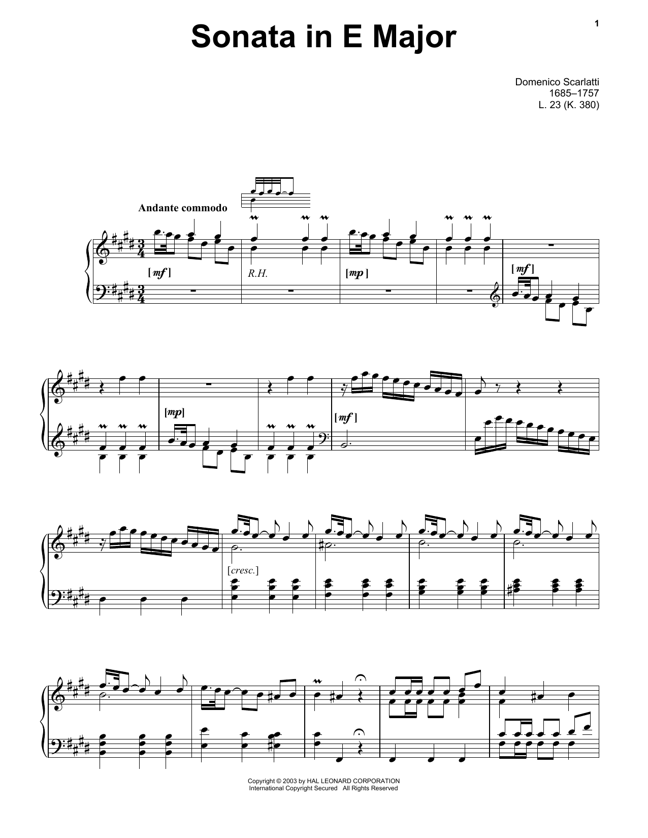 Sonata In E Major, L. 23 (Piano Solo)