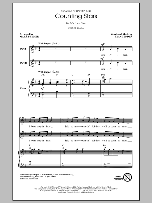 Counting Stars (arr. Mark Brymer) Sheet Music