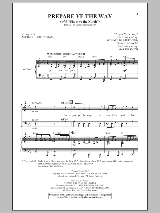 Shout To The North Sheet Music