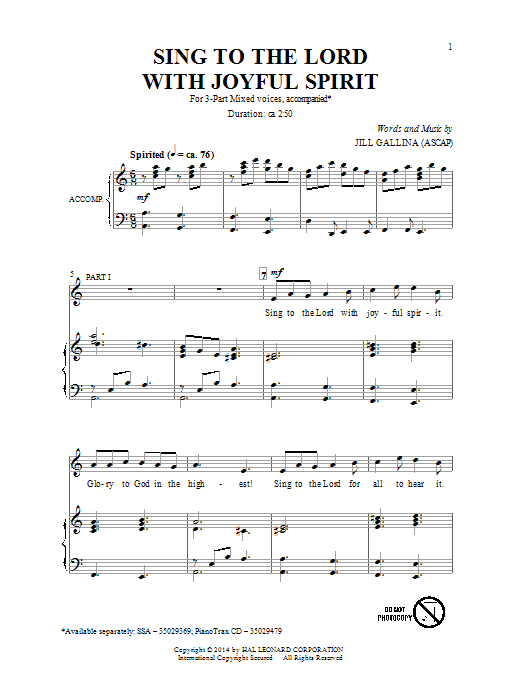 Sing To The Lord With Joyful Spirit Sheet Music