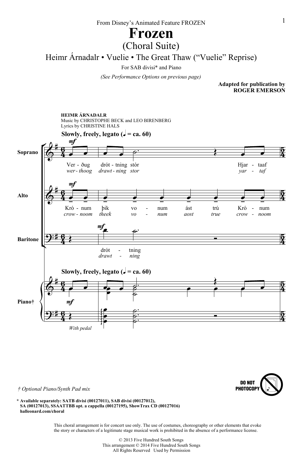 Frozen (Choral Suite) Sheet Music