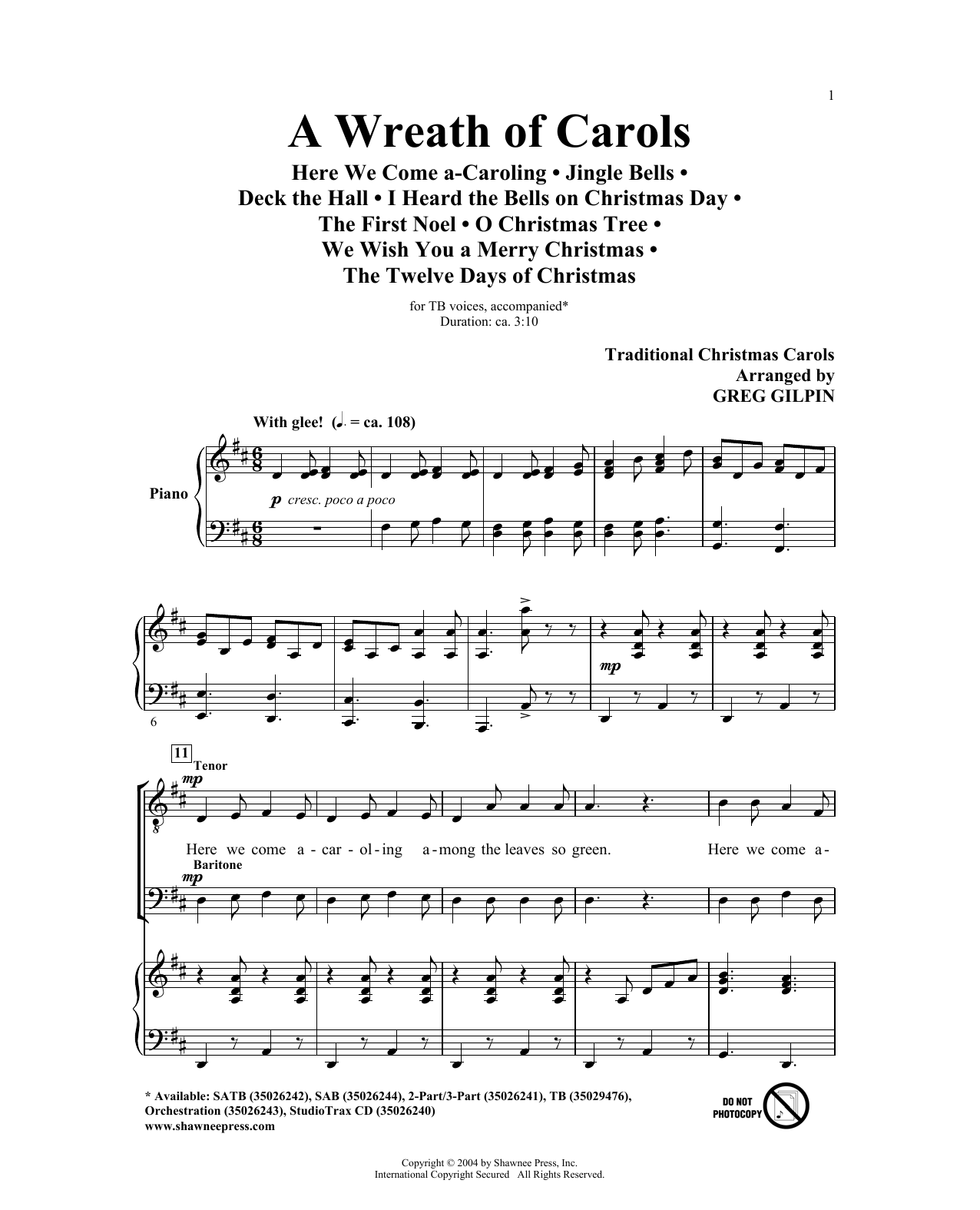 Partition chorale A Wreath Of Carols de Greg Gilpin - TB