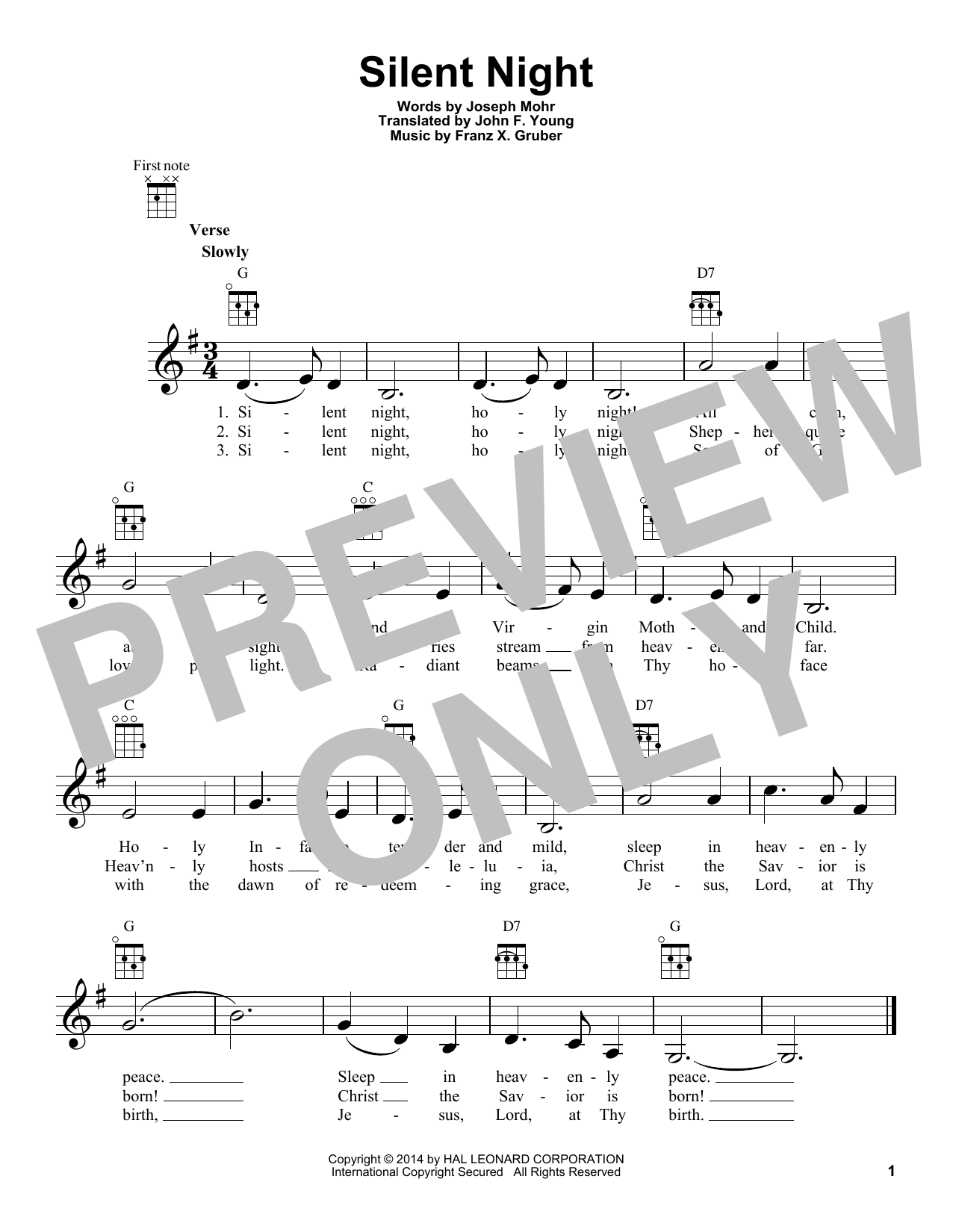 Tablature guitare Silent Night de Franz X. Gruber - Ukulele