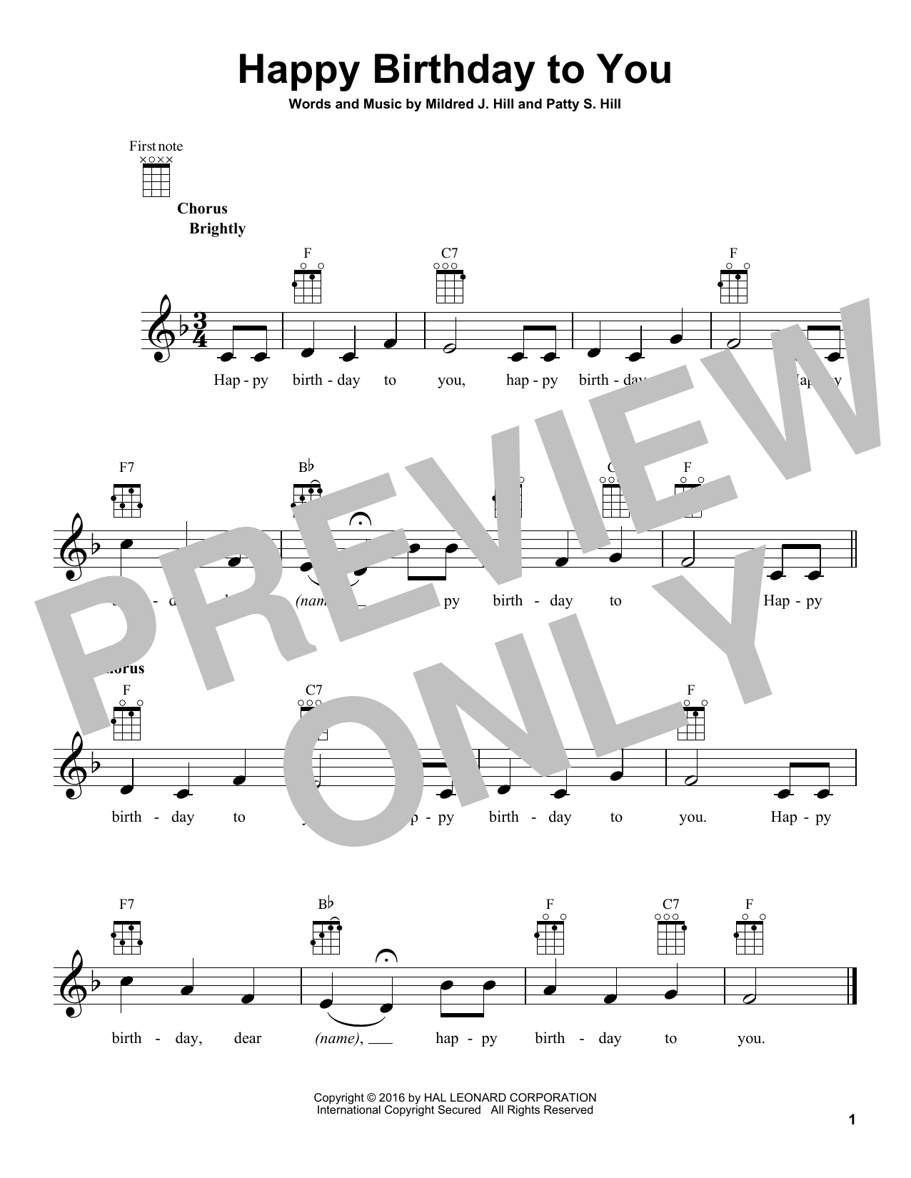 Tablature guitare Happy Birthday To You de Mildred & Patty Hill - Ukulele