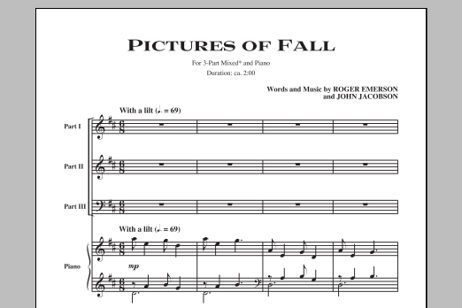 Partition chorale Pictures Of Fall de John Jacobson - 3 voix mixtes