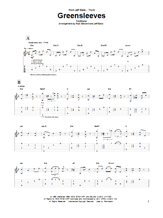 Greensleeves (Guitar Tab)
