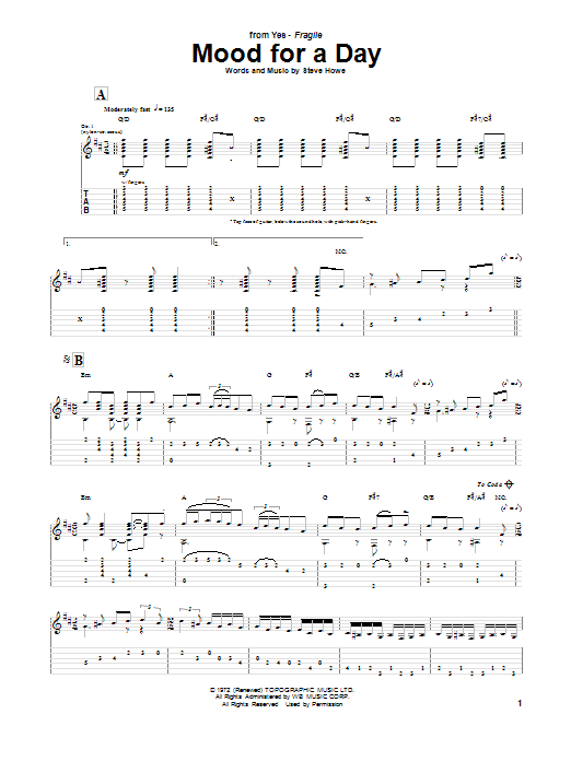 Mood For A Day Sheet Music