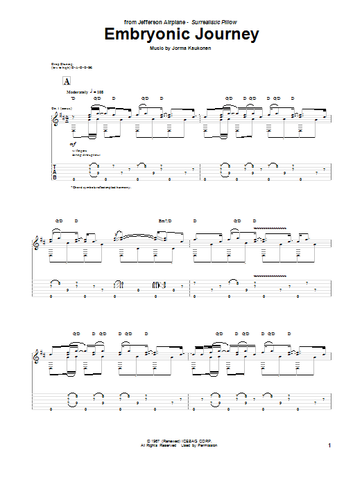 Tablature guitare Embryonic Journey de Jefferson Airplane - Tablature Guitare